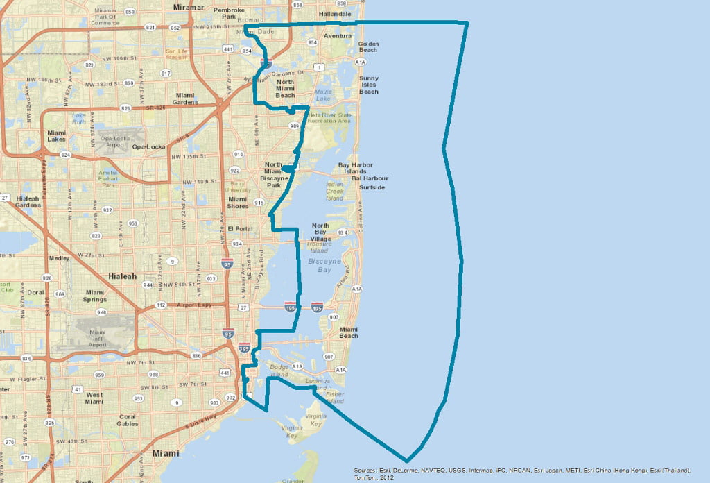Map of School District 3 Miami Dade