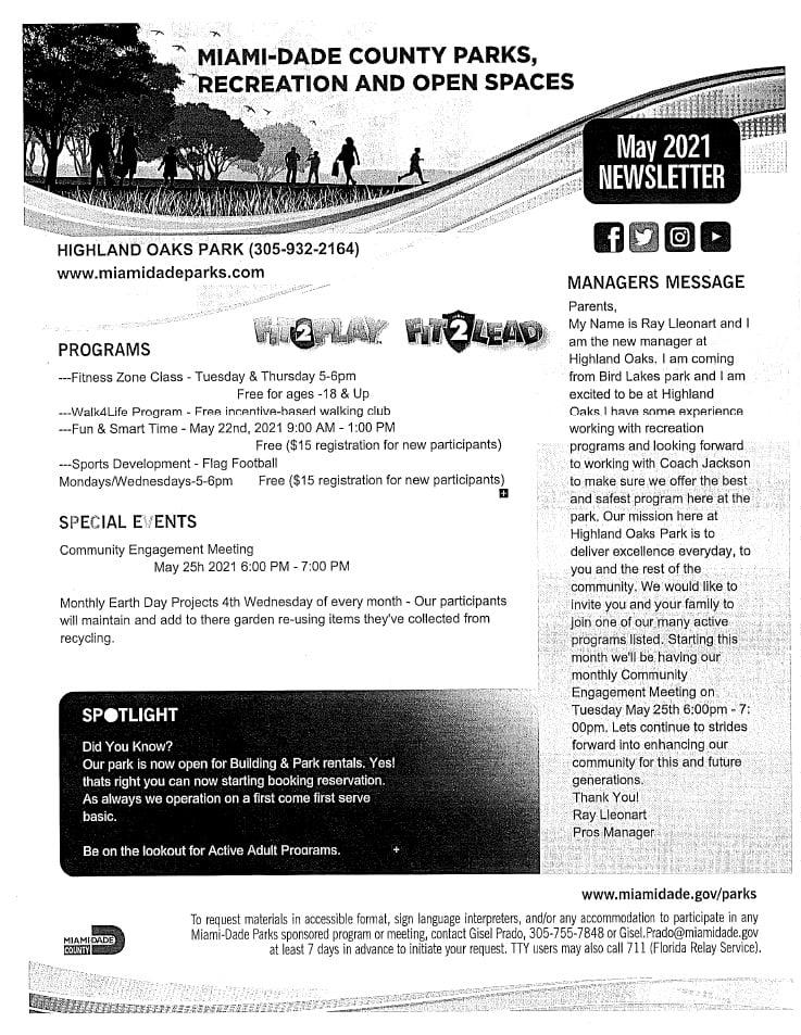 Highland Oaks Park May 2021 Newsletter